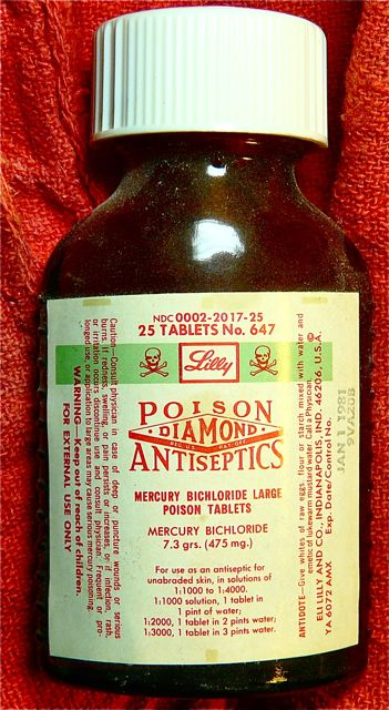 A bottle of pharmaceutical grade mercury bichloride bought in 1981