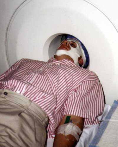 Tulving in PET scanner. Click to enlarge.